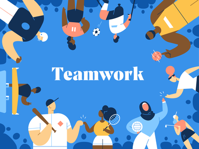 Teamwork down the street designs design down the street dts designs dts sports characters color illustration