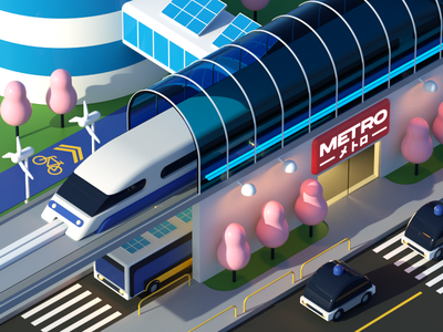 Future City: Transportation Hub commute bike station down the street designs illustration infrastructure futuristic future city car bus train transportation 3d art 3d