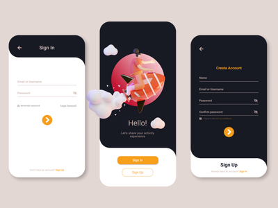 Login/Sign Up Mobile UI typography illustrator illustration ux ui design