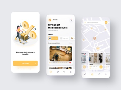 Stores Discount Finder App events store shop shopping cart shopping bag shopping app event clothes minimal store app online store online shop mobile design mobile design ux ui app
