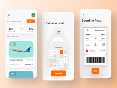 Flight Ticket Booking App minimalist concept app ui ux ios app clean mobile app app design plane boardingpass air ticket plane ticket airport boarding