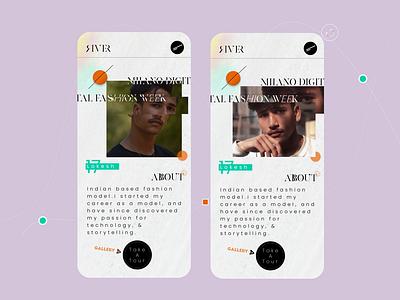 """RIVER"" model portfolio app ui interface graphic design art minimal app typography ux branding ui logo design"