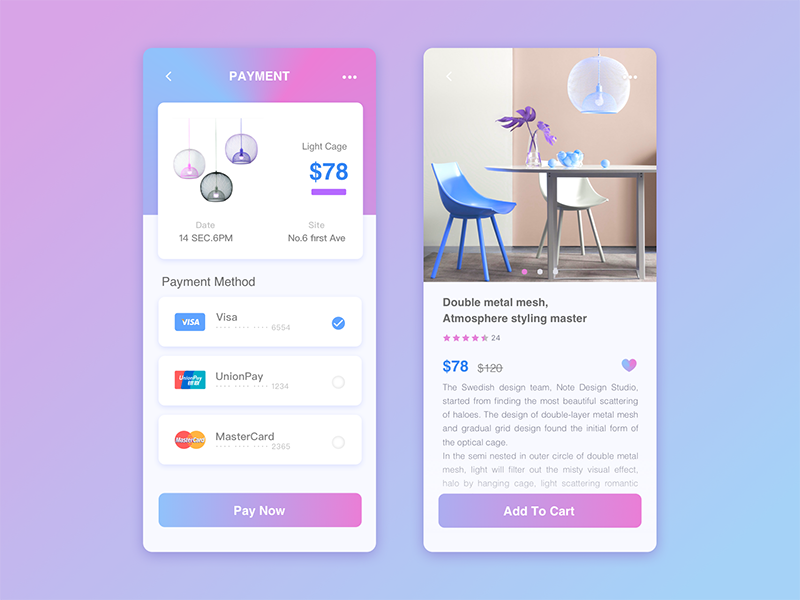 Payment interface by LUNA XIE on Dribbble
