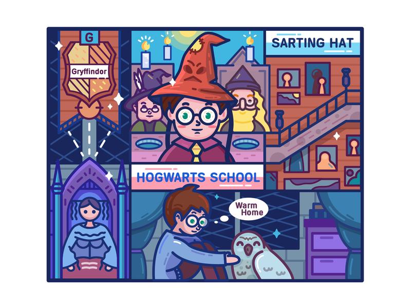 Harry Potter Sorcerer's Stone-#3 hogwarts home flag mirror owl harry potty illustration