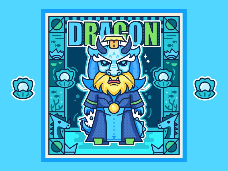 Dragon crown fish pearl ocean king animal illustration