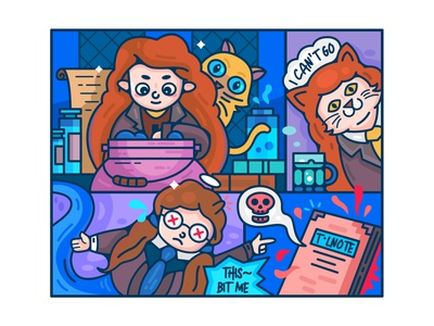 Harry Potter and the Chamber of Secrets-#5 glass transformation book cat girl happy potty illustration