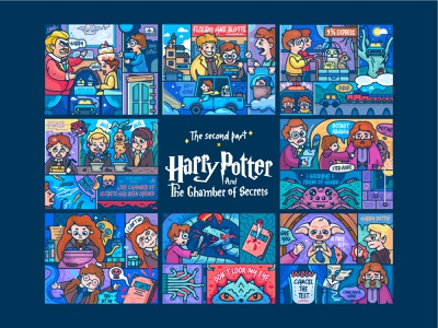 Harry Potter And The Chamber Of Secrets train snake storybook cat letter owl spider story noodles collection animal illustration