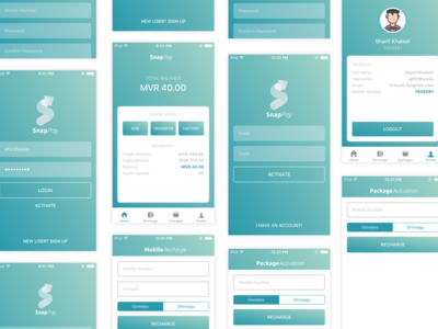 iOS Application Design for SnapPay apple swift ios material mobile application android flat design