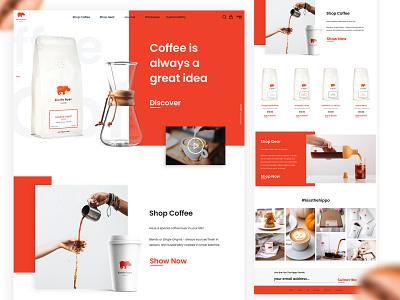 Kiss The Hippo - Redesign Website identity coffee sketch website concept website shopping branding flat web design web interface design ux ui