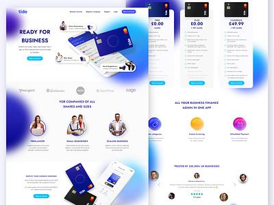 Tide Online Business Banking gradient banking website credit card banking web design web interface application design ux ui