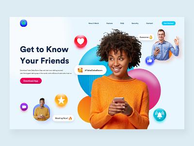 Social Distance App Landing Page Design icon glassmorphism app landing ux branding web design ui design web interface landign page