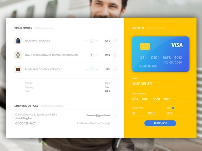 Check out Page payment ux ui bag shop form shipping order credit card purchase e commerce check out