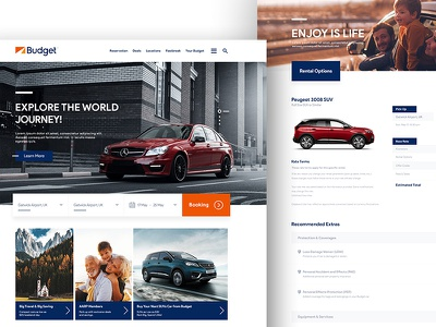 Budget UK Website Redesign ux ui redesign landing homepage flat budget rental booking website web