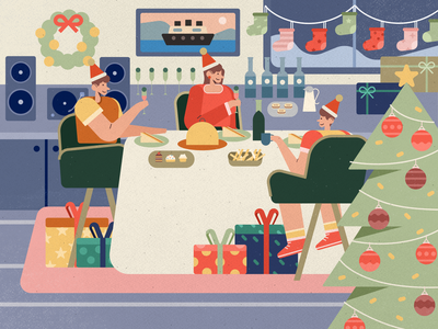 Christmas Dinner family dinner night christmas holiday texture flat character people