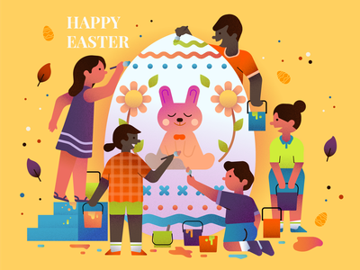 Happy Easter easter bunny celebration vector color easter rabbit people kid character illustration