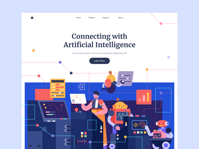 Artificial Intelligence Illustration illustraion ui future artificial intelligence work robot landing page color character people