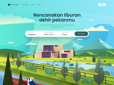 Landing Page - Staycation house trees color background environment flat