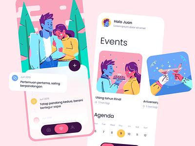 Dating App Illustration illustration relationship ui design date line flat color screen love dating app character app people