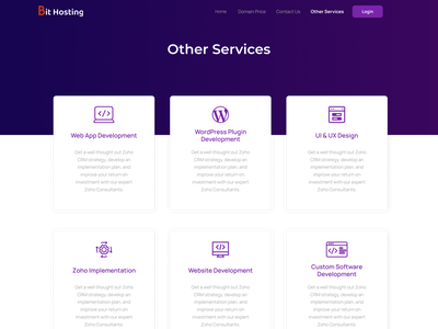 Bit Hosting Other Services Page Design hosting service domain page domainhosting domain name hosting bit code design illustration ui bit apps services page services service design