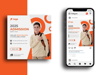 School admission social media post template social media facebook post admission open school template educational new admission university junior education banner school poster