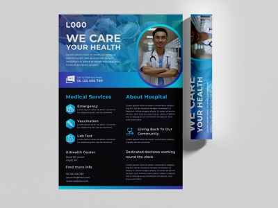 Creative modern medical treatment flyer template pulse health care nurse advertising medical corporate vector leaflet hospital mask covid-19 information coronavirus template quarantine healthy corona virus infographic pandemic outbreak covid-19 flyer