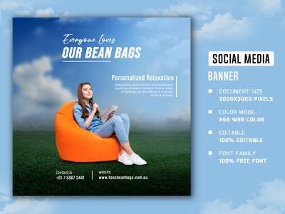 Bean-Bags social media banner and post illustration facebook post social media banner and post web stories square social media banner social media poster web post web banner social media stories social media post social media banner bean bags