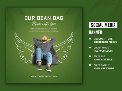 Bean bags social media banner and post social media banner and post web stories square social media banner social media poster web post web banner social media stories social media post social media banner bean bags