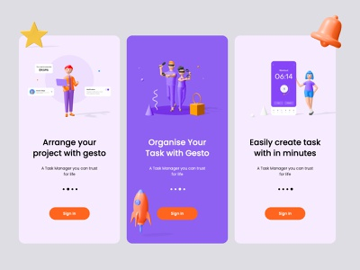 Task Manager (Gesto) art branding ui website web illustration app ux 3d art 3d design