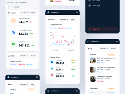 Social Media Mobile | Impressme management schedule minimalist ui kits ui kit socialmedia social graphic analytic mobile dashboard pos impression funnel post