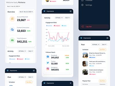 Social Media Mobile | Impressme management schedule minimalist ui kits ui kit socialmedia social graphic analytic mobile dashboard pos impression funnel post