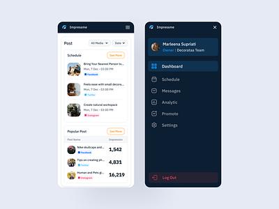 Social Media Mobile   Impressme management schedule minimalist ui kits ui kit socialmedia social graphic analytic mobile dashboard pos impression funnel post