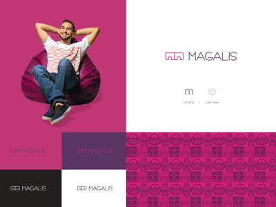 Magalis for seating solutions logo design مجالس patterns illustrations freelancer lshazly magalis beanbags branding logo design logo