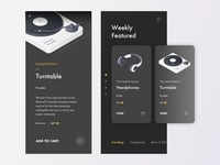 E-commerce app Interface typography dribbble mobile app dark theme dark background dark ecommerce design ux ui techno turntable retro technology shop music headphones clean cuberto app