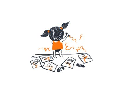 The tiny artist orange doodling children procreate app procreate characterdesign baby kid art illustration