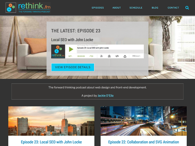 Rethink.fm Website Design genesis framework wordpress podcast svg animation