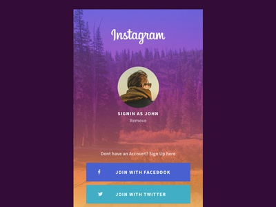 Instagram Mobile Sign In UI