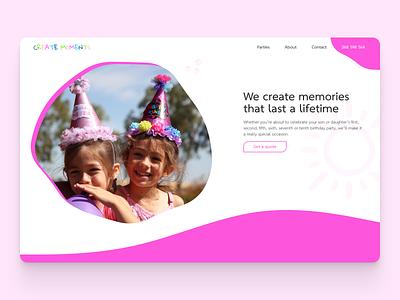 Create Moments design hero section website ui ux ui web design landing page hero