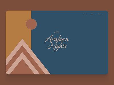Arabian Nights typography illustration design hero section website ui web design landing page hero concept