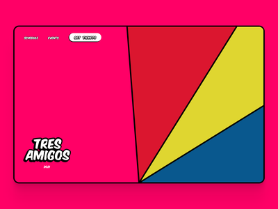 Tres Amigos event typography illustration hero section ui website web design landing page hero party concept