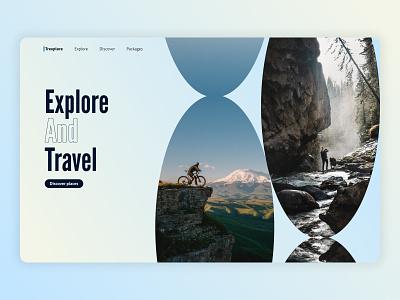 Trexplore adventure travel branding logo design ui hero section website web design landing page hero concept