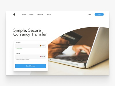 Rapid Pay fintech hero section website ui web design landing page hero