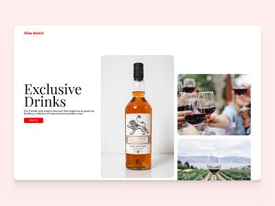 Wine Barrel shop wine ui branding design hero section website web design landing page hero