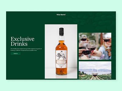 Wine Barrel - Wine Store Landing Page concept wine branding design hero section website hero ui web design landing page