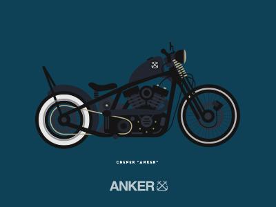 Motorcycle anker illustration surfer project poster flat design artist motorcycle