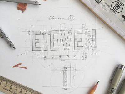 Eleven type sketch pencil logo eleven