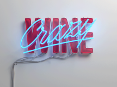 Crazy Wine - neon 3d tupe wine type logo neon