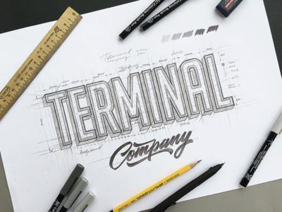 TERMINAL 3d type font terminal lettering logo