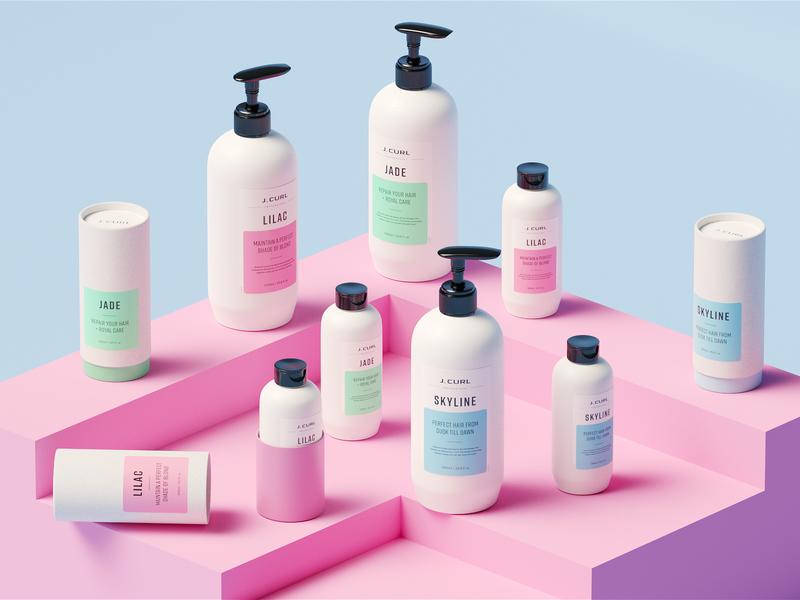 J. Curl — Joyful Hair Care. pastel pink beauty package barnding