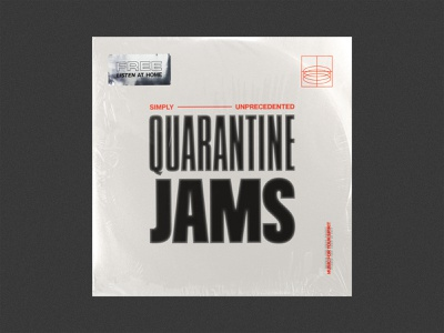 Quarantine Jams working from home wfh covid19 covid-19 covid coronavirus text effects grain worship sampler quarantine typography ink starve music spotify playlist cover design