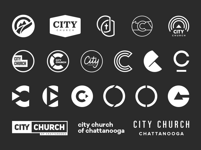 City Church Outtakes process branding logo typography mark church
